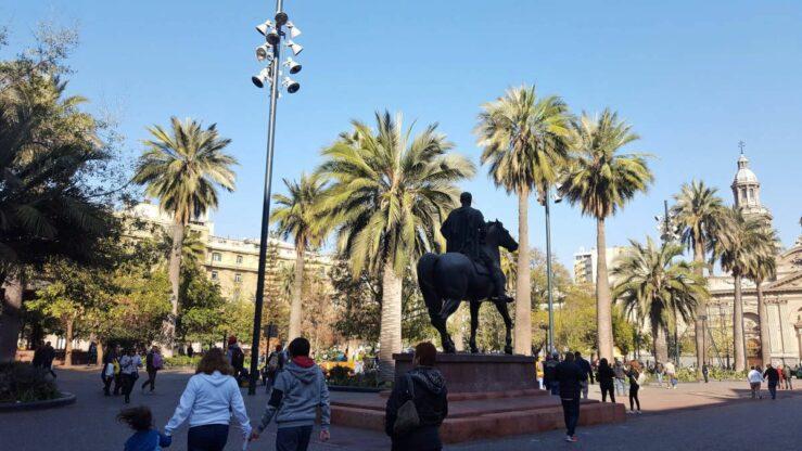 Plaza de Armas Santiago city Chile near Hostal Yungay - by Centropuerto