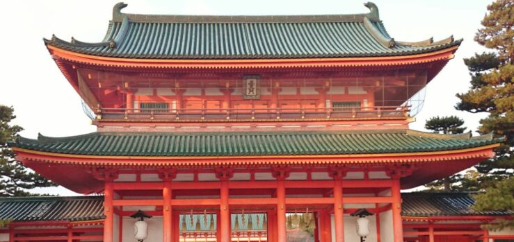 Heian Temple in Kyoto. From Tokyo to Kyoto by train