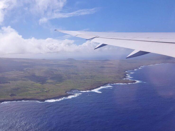 We are flying over Easter Island. Rapa Nui Hanga Roa