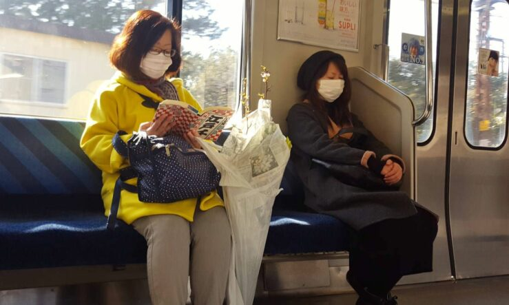 Japanese ladies on one of the Tokyo trains.