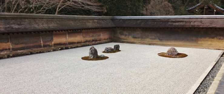 The rock garden at Ryoanji - by train from Tokyo to Kyoto.