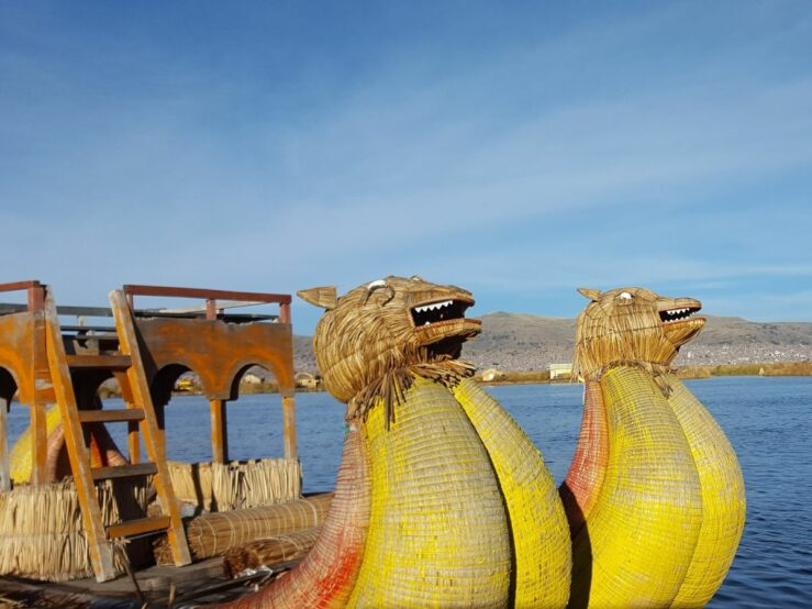 Reed boats with animal heads on the Lake Titicaca