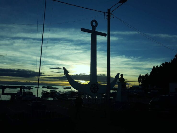 Copacabana Bolivia at dusk Bolivia Hop and Peru Hop bus Cusco to La Paz