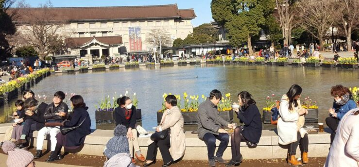 Informal meetings and chats in Ueno Park.