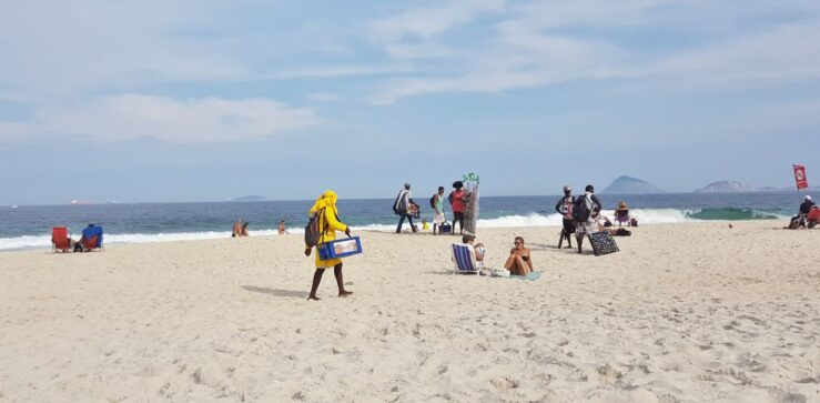 Brazilian people are vendors on the beach
