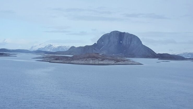 Torghatten. MS Nordnorge Arctic Circle Norway