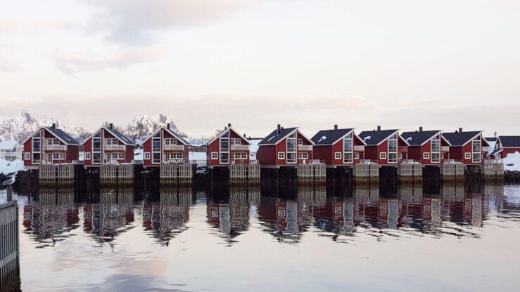 Modern rorbu cabins in Svolvaer.