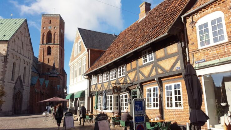 visit Ribe in Denmark on the Cathedral square.