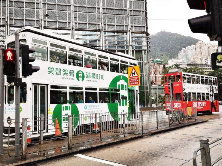 Double-decker tram in Hong Kong