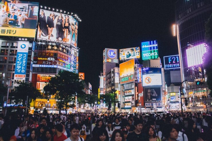 Shibuya Crossing in Tokyo during rush hour