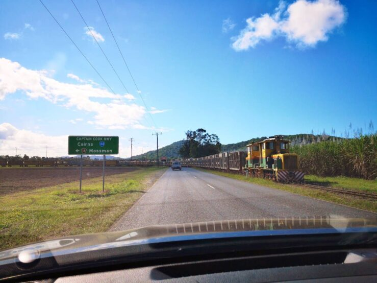Captain Cook Highway - sugar cane carriages