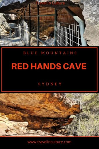 Aboriginal art in Red Hands Cave, Sydney, Blue Mountains Australia