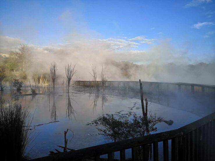 Rotorua New Zealand sulphurous mist